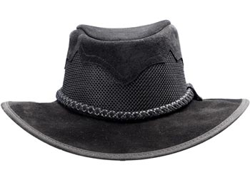 """Inlaid Peaks"" Mesh and Leather Hat - Black"