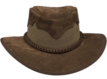 """Inlaid Peaks"" Mesh and Leather Hat - Mocha Brown"