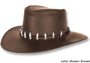 Crocodile Dundee Hat - Oiled Leather Waterproof Hat with Real Crocodile Teeth Band